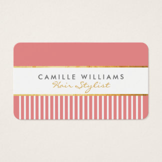 BOLD modern stylish comb design gold coral pink Business Card