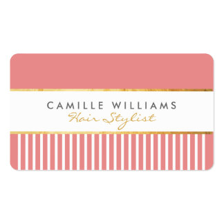 BOLD modern stylish comb design gold coral pink Pack Of Standard Business Cards