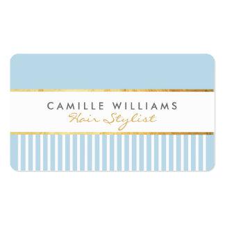 BOLD modern stylish comb design gold duck egg blue Pack Of Standard Business Cards