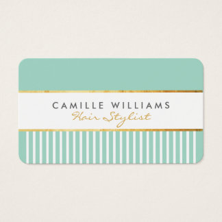 BOLD modern stylish comb design gold mint green Business Card