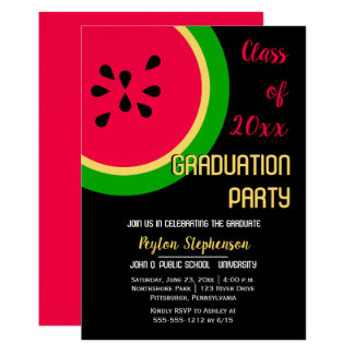 Bold Modern Watermelon Graduation Party Card