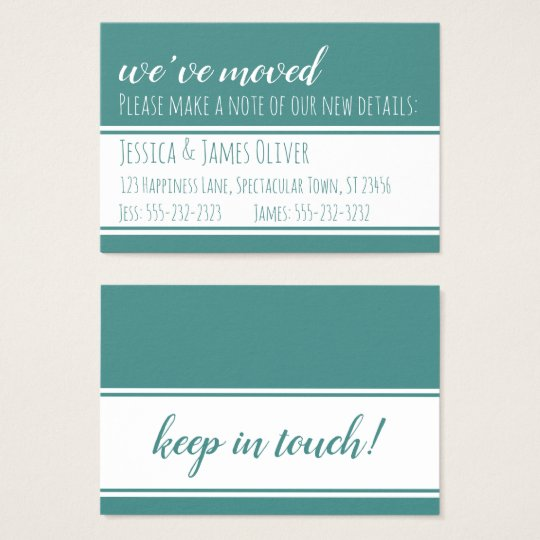 Bold, Modern We've Moved Cards in Teal and White