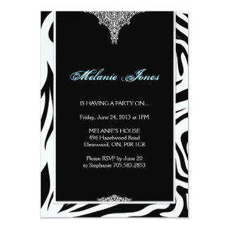 Bold Modern Zebra Print Birthday Party Invitation