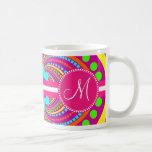 Bold Monogram Funky Pattern Hot Pink Design