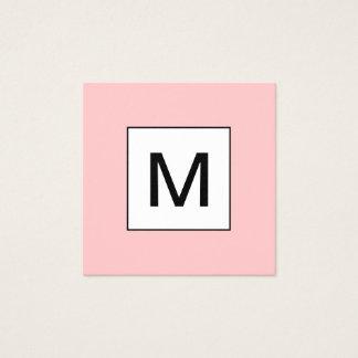 Bold monogram minimalist modern pink business card