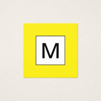 Bold monogram minimalist yellow business card