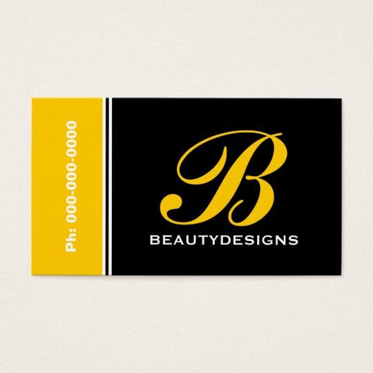Bold monogram yellow black eye-catching business card