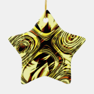 Bold Move - Yellow and Black Abstract Ceramic Star Decoration