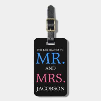 Bold Mr and Mrs Pink and Blue Luggage Tag