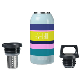 Bold multicolor stripes on teal insulated water bottle