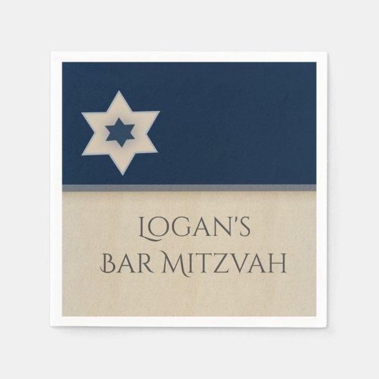 Bold navy blue and tan Bar Mitzvah Napkins