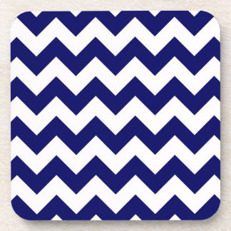 Bold Navy Blue & White Chevron Zig-Zag Pattern Coaster
