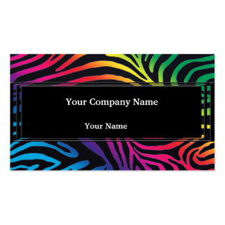 Bold Neon Zebra Stripes Business Cards