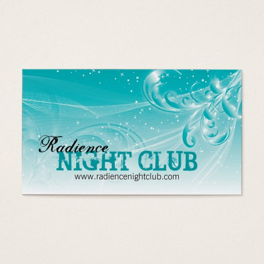 Bold Night Club Business Card Modern White Teal