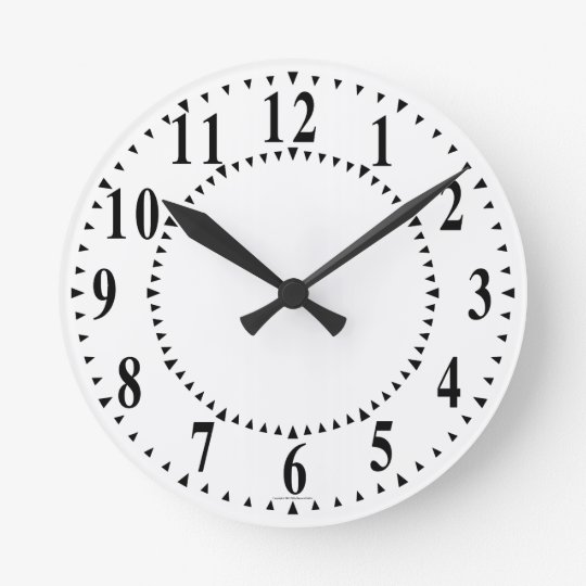 Bold Numbers With Guide Wedges Round Clock