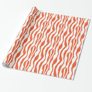 Bold Orange and White Zebra Stripes Animal Print Wrapping Paper