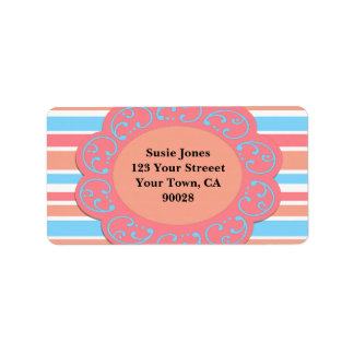 Bold Orange Blue Stripes Address Label