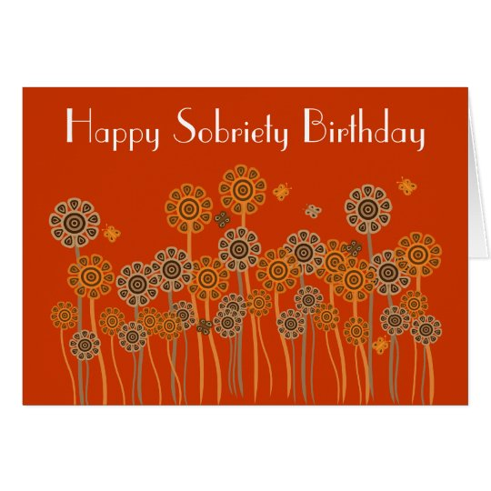 Bold Orange Retro Flowers Sobriety Birthday Card