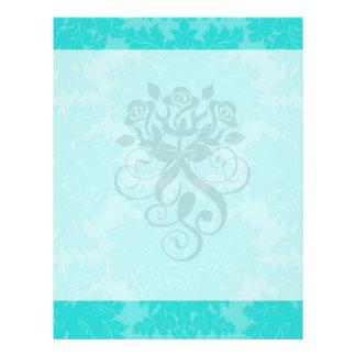 bold ornate aqua aquamarine blue damask pattern flyer