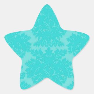 bold ornate aqua aquamarine blue damask pattern star sticker