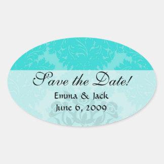 bold ornate aqua aquamarine blue damask pattern oval sticker