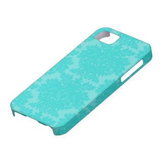 bold ornate aqua blue damask pattern barely there iPhone 5 case
