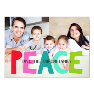 Bold Peace Personalized Christmas Photo Card