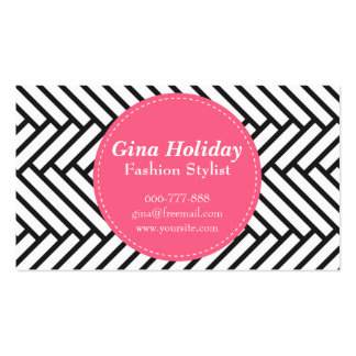 Bold pink circle on black and white herringbone Double-Sided standard business cards (Pack of 100)