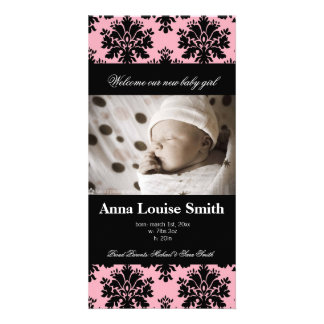 Bold Pink Damask Birth Announcement Cards Customized Photo Card