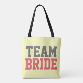 Bold Pink Grey Team Bride Typography Yellow Tote Bag