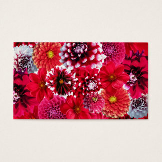 Bold Pink Magenta Dahlia Flowers Floral Collage Business Card