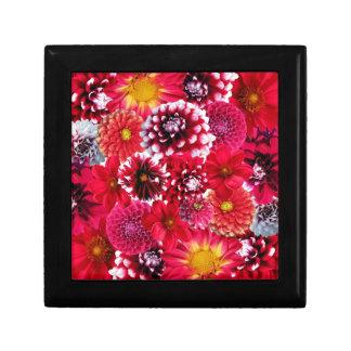 Bold Pink Magenta Dahlia Flowers Floral Collage Trinket Box