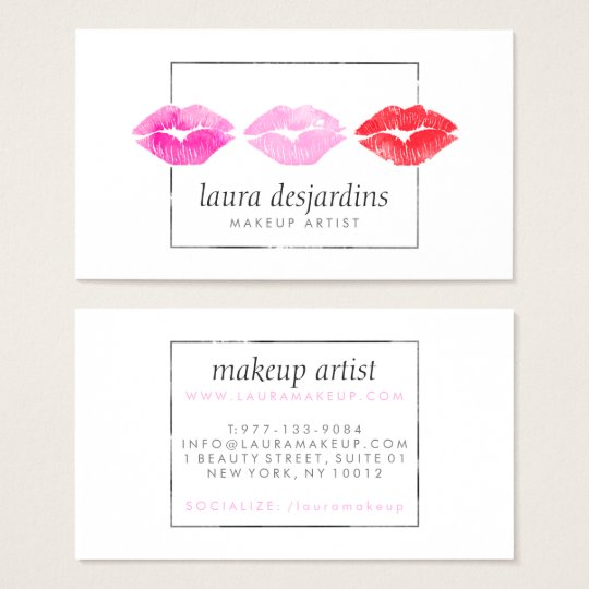 Bold pink red lips watercolor beauty makeup artist