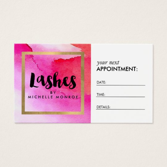 Bold Pink Watercolors Lash Extensions Appointment Business Card