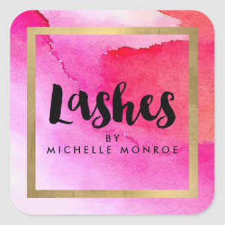 Bold Pink Watercolors Lash Extensions Salon Square Sticker