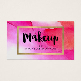 Bold Pink Watercolors Makeup Artist Business Card