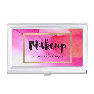 Bold Pink Watercolors Makeup Artist Business Card Holder