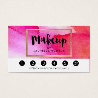 Bold Pink Watercolors Makeup Artist Loyalty