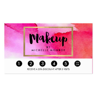 Bold Pink Watercolors Makeup Artist Loyalty Punch Pack Of Standard Business Cards
