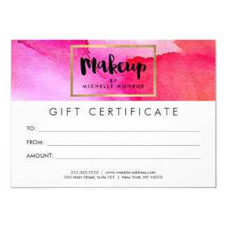 Bold Pink Watercolors Makeup Gift Certificate Card