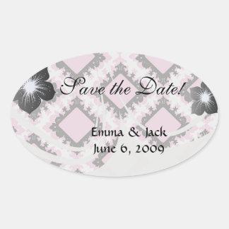 bold pink white black diamond damask pattern sticker