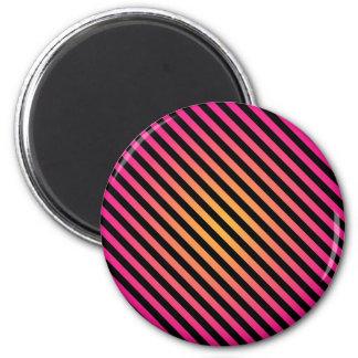 Bold Pink Yellow Black Diagonal Stripes 6 Cm Round Magnet