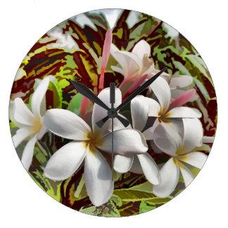 Bold Plumeria Large Clock