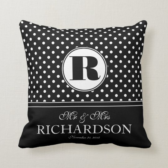 Bold Polka Dots Mr and Mrs Newlywed Monogram