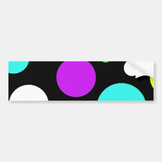 Bold Polka Dots Purple Teal Green Black Yellow Bumper Sticker