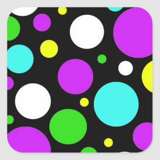 Bold Polka Dots Purple Teal Green Black Yellow Square Sticker