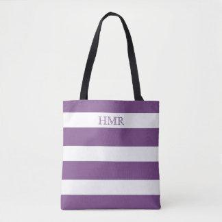 Bold Purple and White Stripe Monogram Tote Bag
