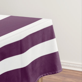 Bold Purple And White Stripes Pattern Tablecloth
