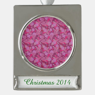 Bold Purple Paisley Silver Plated Banner Ornament