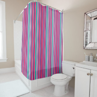 Bold Purple, Pink and Turquoise Vertical Stripes Shower Curtain